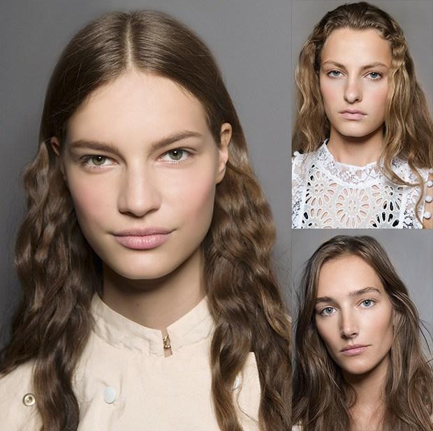 Tendência: cabelo ondulado e make com efeito natural. Aqui, looks dos desfiles da Nina Ricci, Isabel Marant, Kenzo (Foto: Imaxtree / Divulgação / Reprodução)